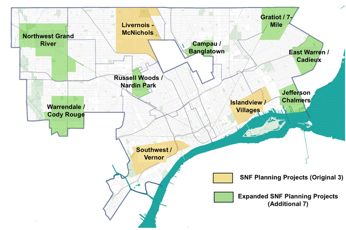 Detroit Neighborhood Map Strategic Neighborhood Fund expands from three to 10 neighborhoods