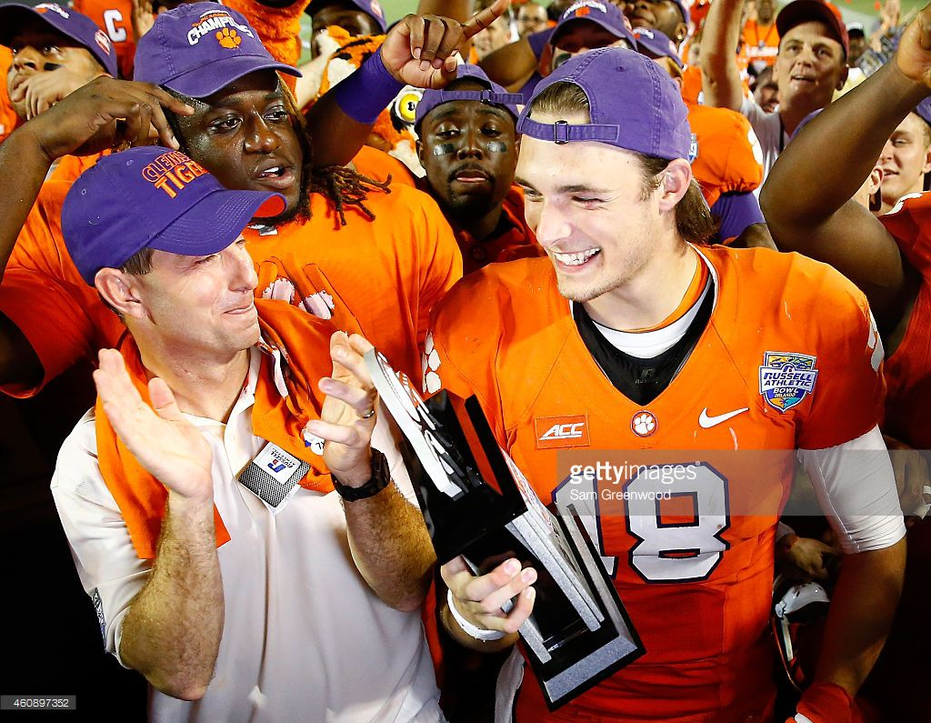 Cole Stoudt finish off the Sooners and his career in grand style (photo from: http://www.gettyimages.com/detail/news-photo/head-coach-dabo-swinney-of-the-clemson-tigers-and-cole-news-photo/460897378)