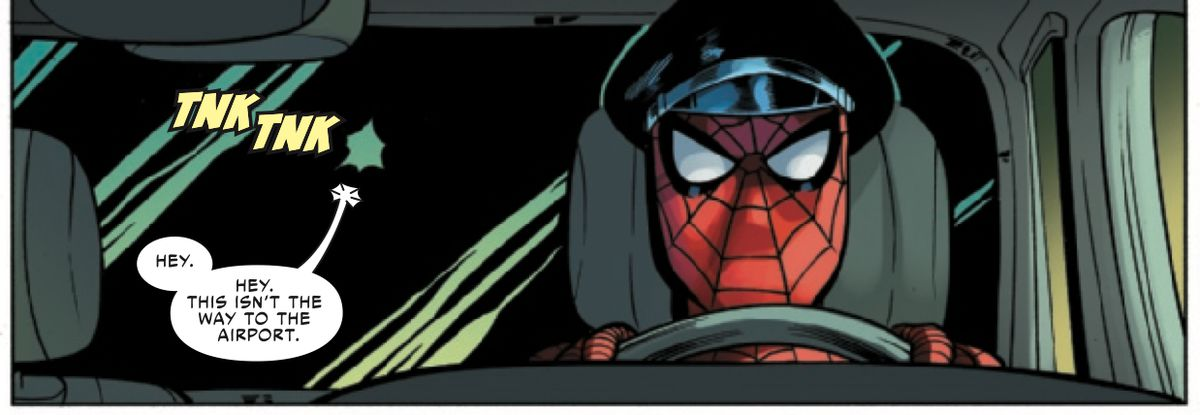 """""""Hey, this isn't the way to the airport,"""" protests the passenger in a limo. The driver is Spider-Man, and he is wearing a driver's cap over his costume, in Friendly Neighborhood Spider-Man #12, Marvel Comics (2019)."""
