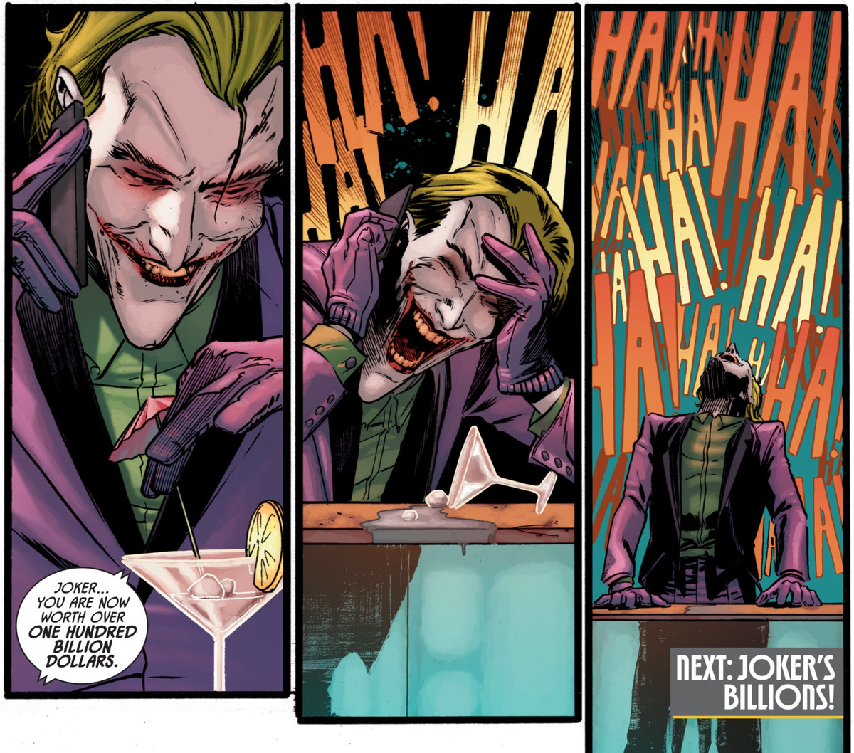 The Joker laughs and laughs as a man tells him that he is now worth over one hundred billion dollars, in Batman #93, DC Comics (2020).