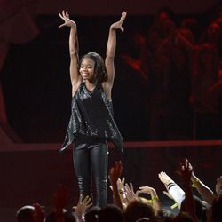 Olympic gymnast Gabrielle Douglas performs onstage at the MTV Video Music Awards on Thursday, Sept. 6, 2012, in Los Angeles.