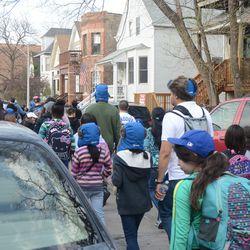 4:43 p.m. Fans walking north on Seminary -
