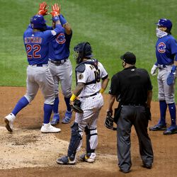 Jason Heyward after his big home run against the Brewers in Miller Park, September 12