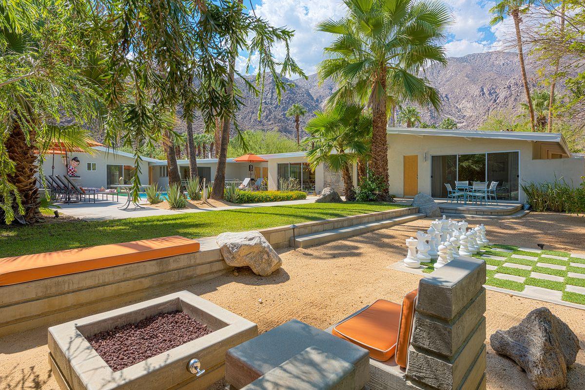 Backyard with giant chess set