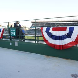 Bunting along the back of the bleacher seating area