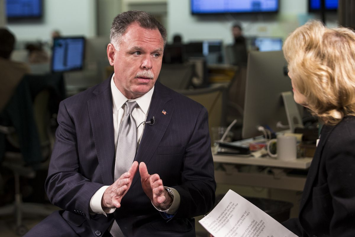 Ex-Chicago Police Supt. Garry McCarthy sits down Thursday for a conversation with reporter Fran Spielman at the Chicago Sun-Times, one day after he formally entered the 2019 race against Mayor Rahm Emanuel | Ashlee Rezin/Sun-Times
