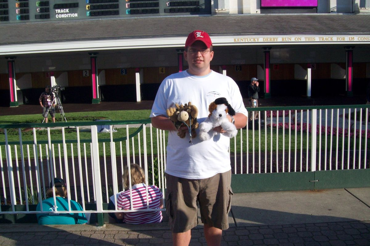 Me in front of the paddock for 2010 Oaks Day with Alpha Phi Omega mascots from Omega Mu (the moose, Quazi) and Delta Theta (Dee Tee, the dog) chapters.
