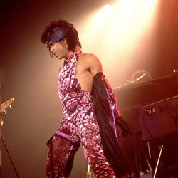 Halter and head piece at the release of Purple Rain in Minneapolis. (1990)