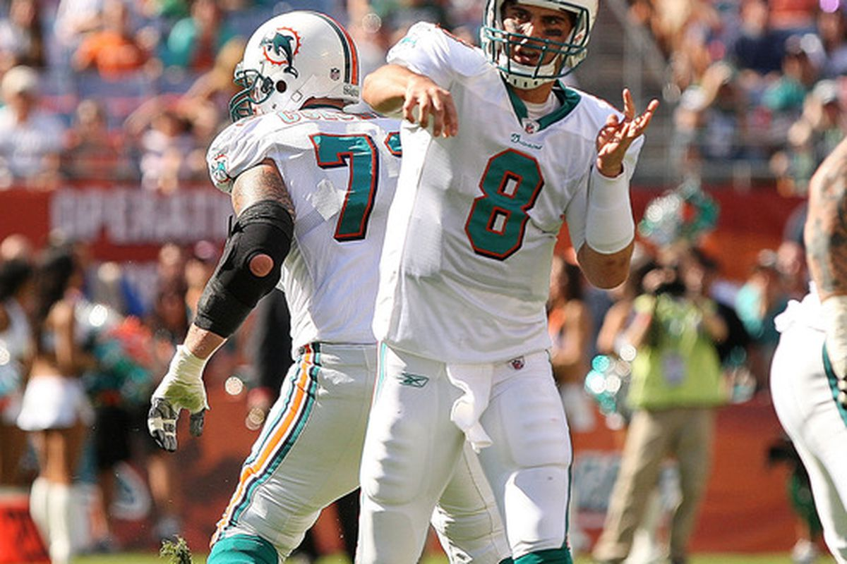 MIAMI GARDENS, FL - JANUARY 01:   Matt Moore #8 of the Miami Dolphins passes during a game against the New York Jets at Sun Life Stadium on January 1, 2012 in Miami Gardens, Florida.  (Photo by Mike Ehrmann/Getty Images)