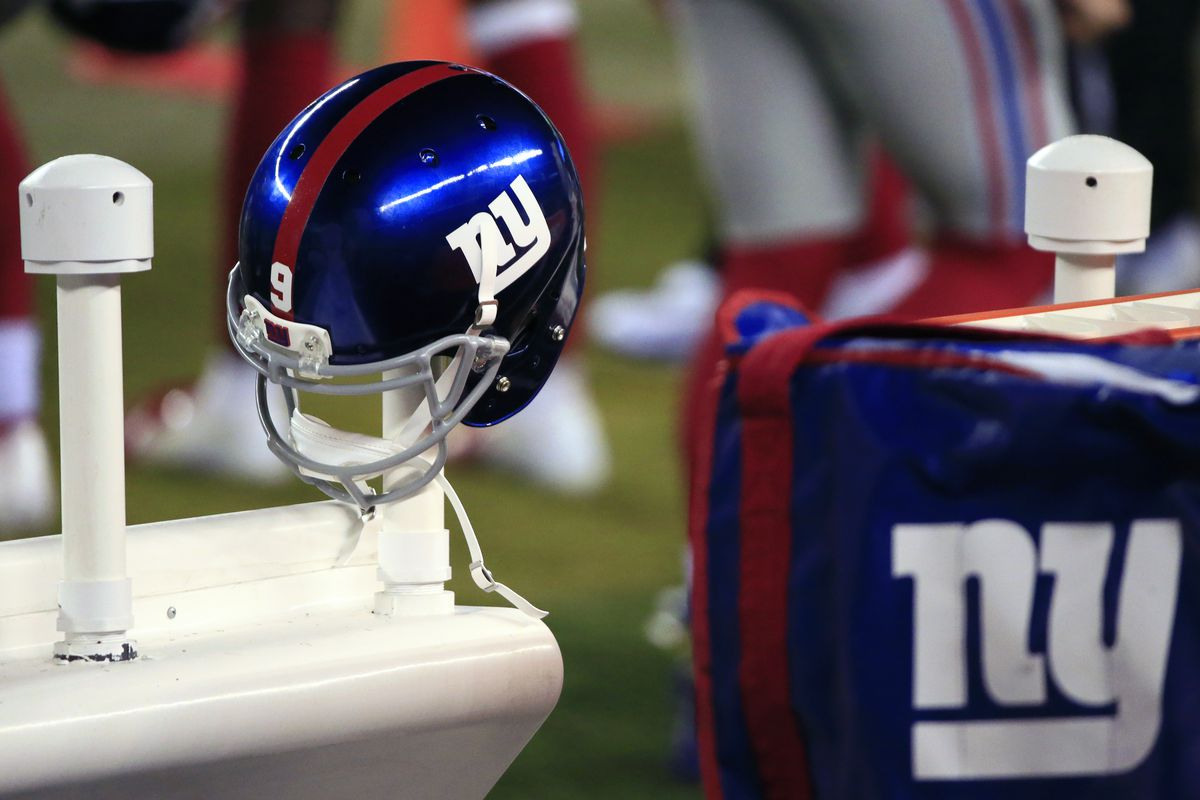 The helmet of Riley Dixon #9 of the New York Giants is shown during the fourth quarter at Lincoln Financial Field on October 22, 2020 in Philadelphia, Pennsylvania.