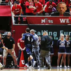 Brigham Young Cougars guard Nick Emery (4) exits the floor after receiving a flagrant two foul as Utah and BYU play in the Huntsman Center in Salt Lake City Wednesday, Dec. 2, 2015. Utah won 83-75.