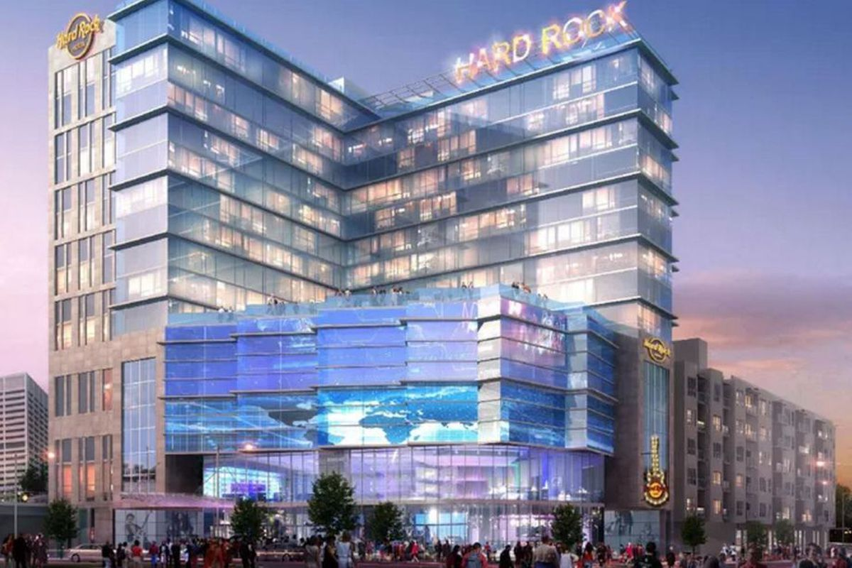 A rendering of a proposed Hard Rock Hotel in downtown Atlanta.