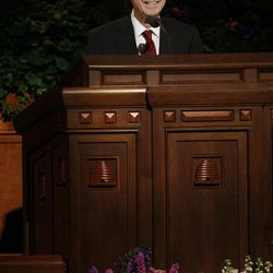 President Henry Eyring speaks during the 182nd Annual General Conference for The Church of Jesus Christ of Latter-day Saints in Salt Lake City  Saturday, March 31, 2012.