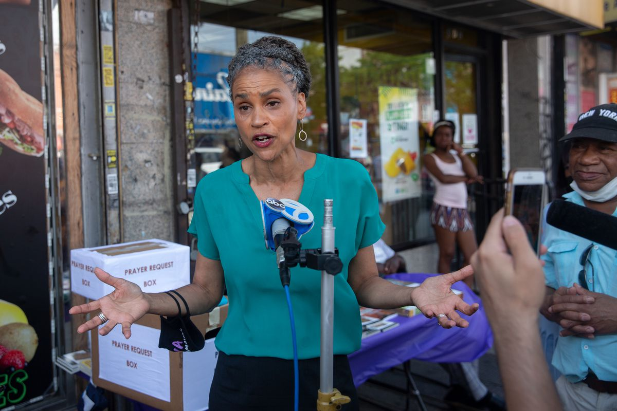 Maya Wiley campaigned in East Flatbush, Brooklyn, the day before the Democratic primary, June 21, 2021.