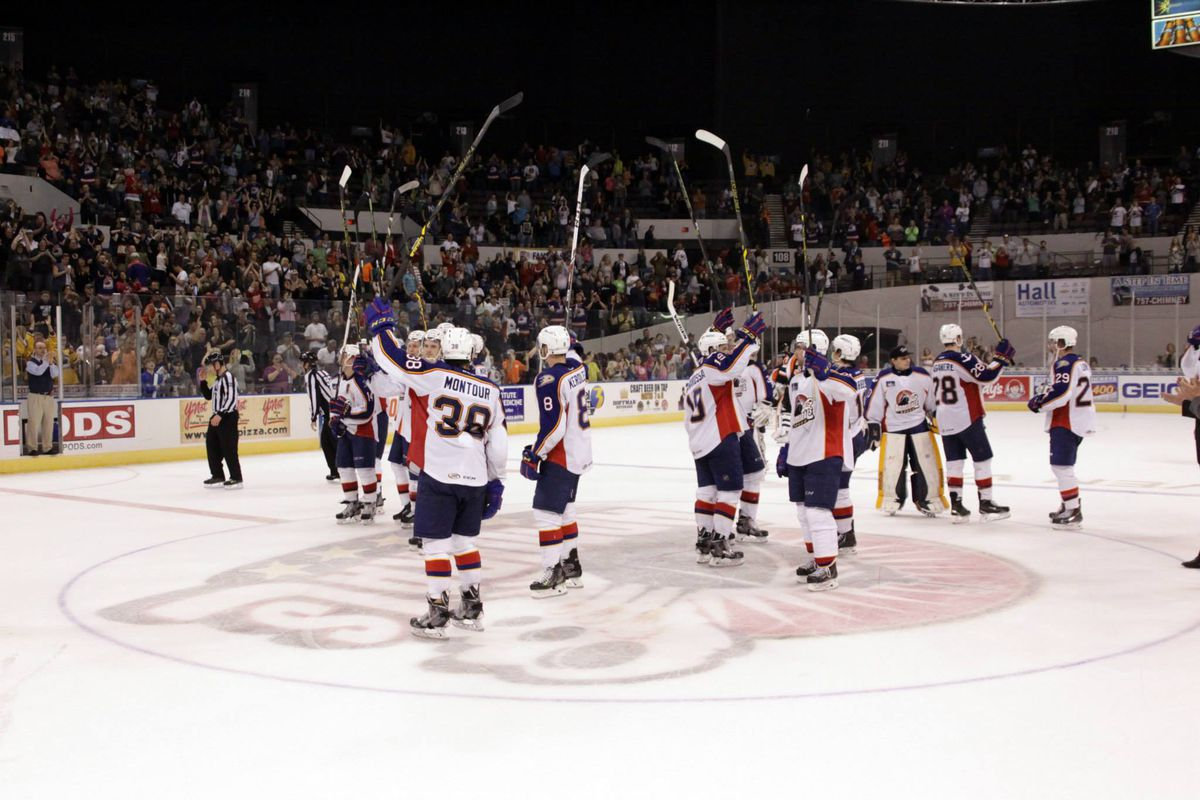 The Norfolk Admirals salute the crowd at the conclusion of their final AHL game at Norfolk Scope  4/17/2015