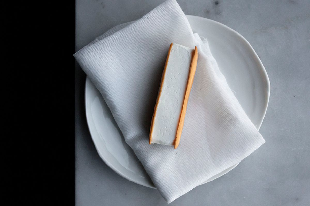 Ice cream sandwich at Gazelle, London, a Mayfair restaurant reviewed by Fay Maschler for The Evening Standard