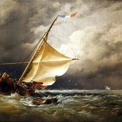 """""""A Dutch Beurtman Aground on the Terschelling Sands, in the North Sea After a Snowstorm"""" is by Edward William Cooke."""