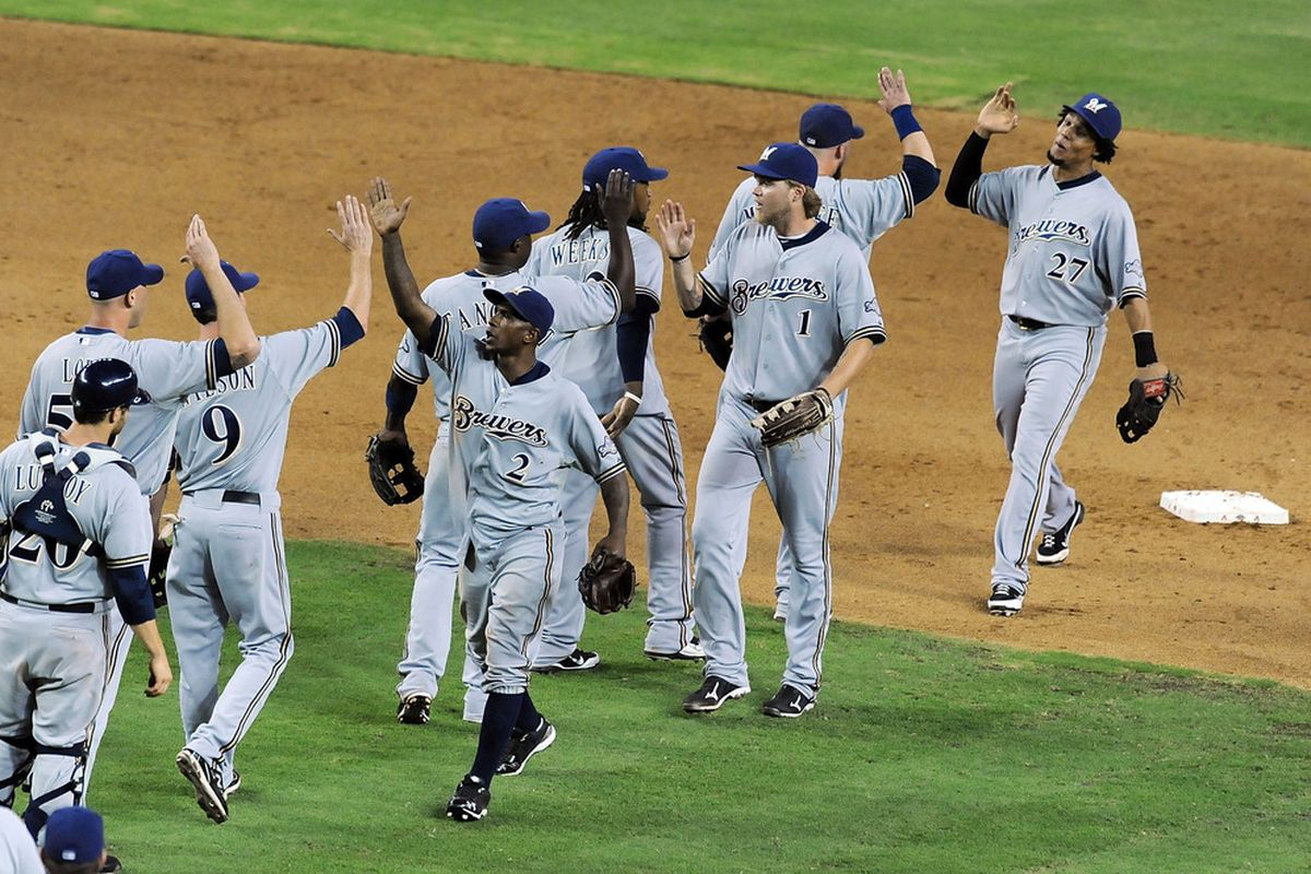 Why yes, that is Nyjer Morgan with his shirt untucked following a Brewer victory.