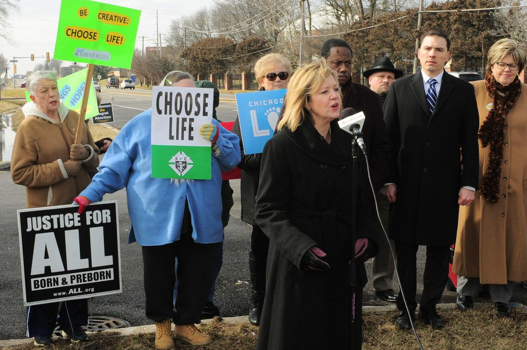 Jeanne Ives, who is challenging Gov. Bruce Rauner in the Republican primary, held a small rally supporting her Right To Life agenda, outside the offices of Planned Parenthood in Flossmoor, in February.   John Booz/for the Sun Times