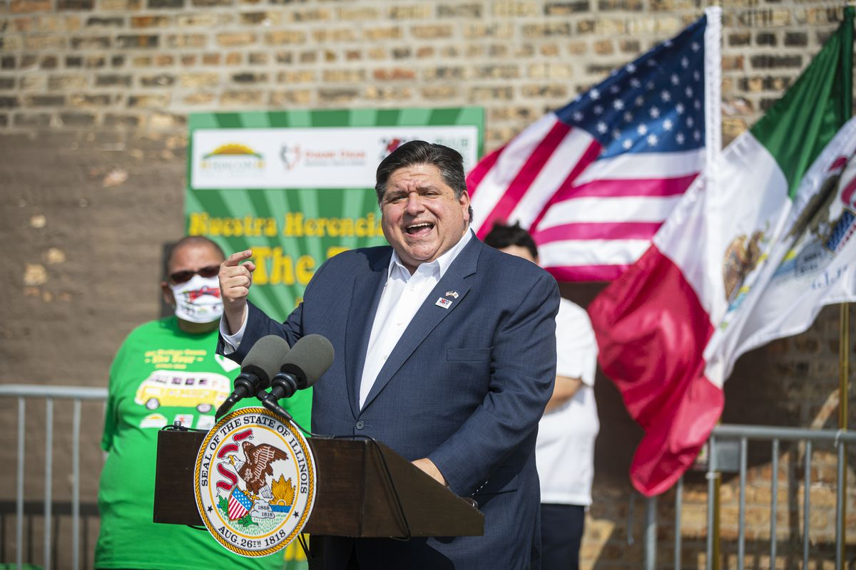 Gov. J.B. Pritzker speaks about the importance of the census in Little Village in September.