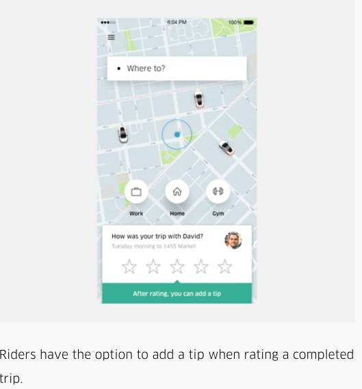 A screenshot of the Uber app.