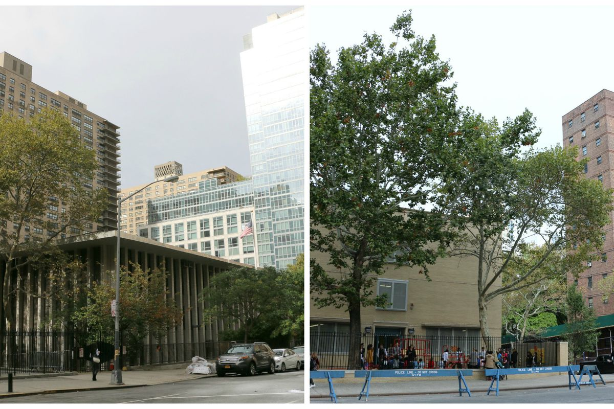 P.S. 199 (left) is a top-ranked school surrounded by pricey residential buildings. P.S. 191, which serves many students from the Amsterdam Houses (far right), has struggled with low test scores.