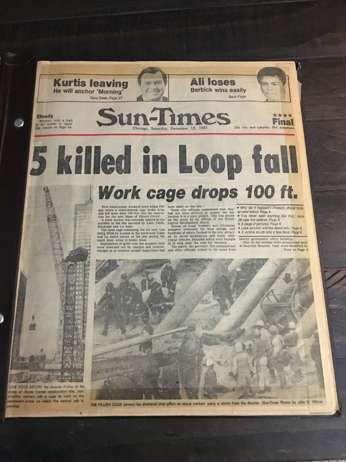 The Chicago Sun-Times front page after Phillip D. Rios survived a 1981 Loop construction accident that took the lives of five other workers.