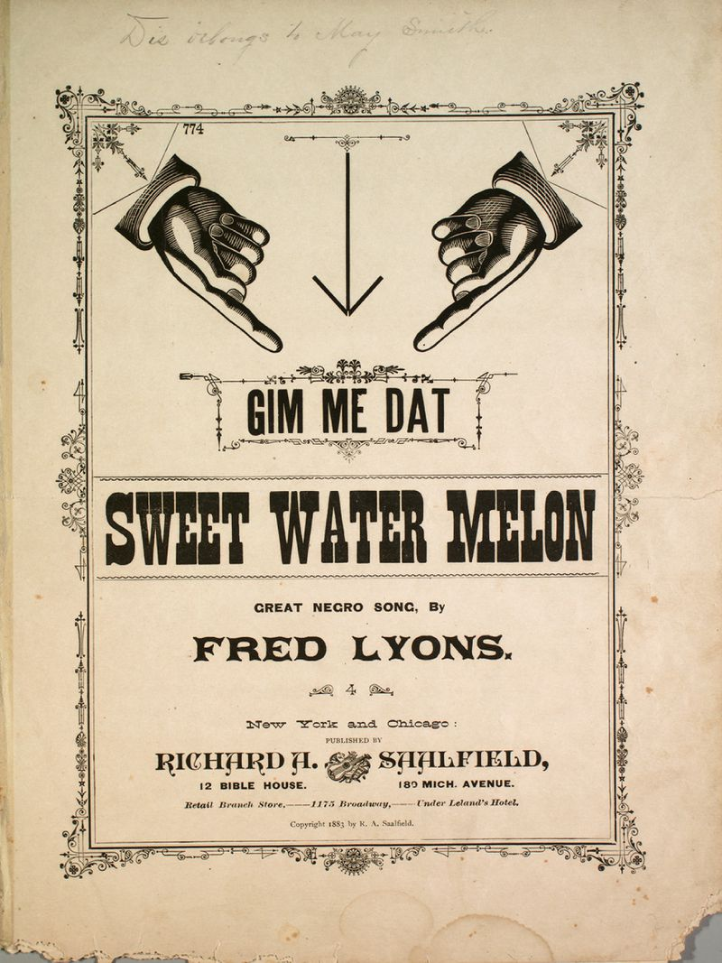 """Music titled """"Gim Me Dat Sweet Water Melon,"""" described as a """"Great Negro Song."""""""