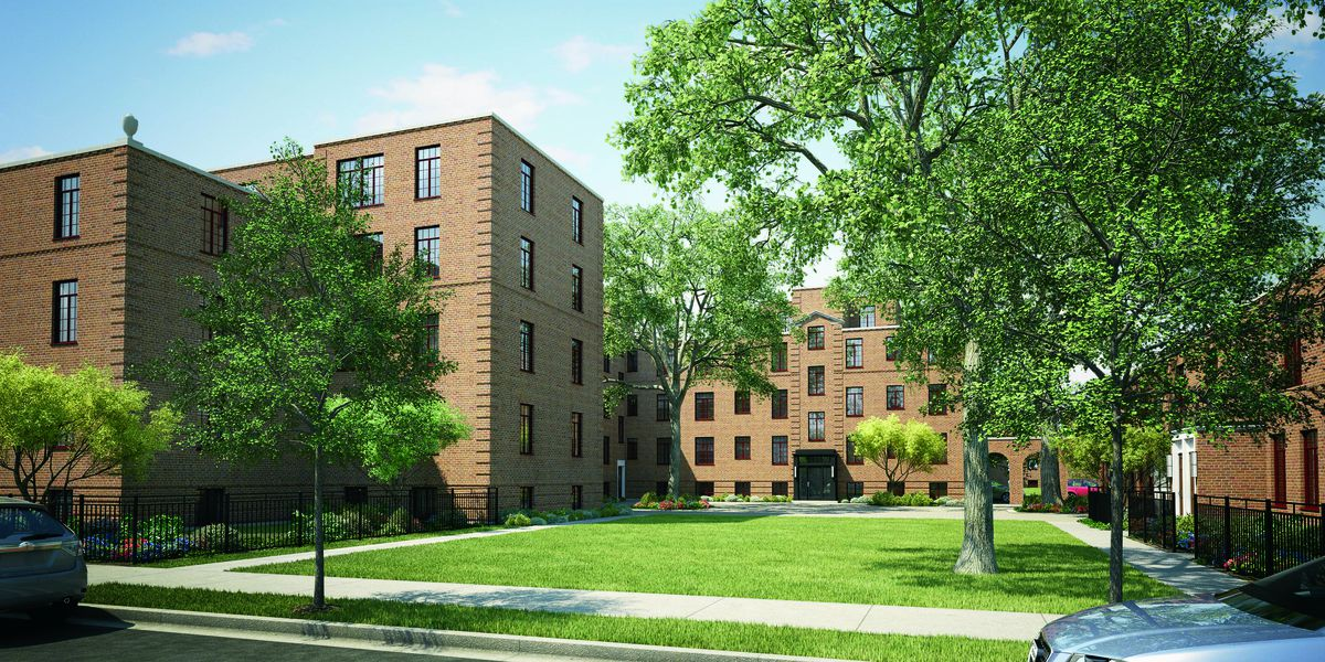 A rendering of part of the renovated Lathrop Homes site.