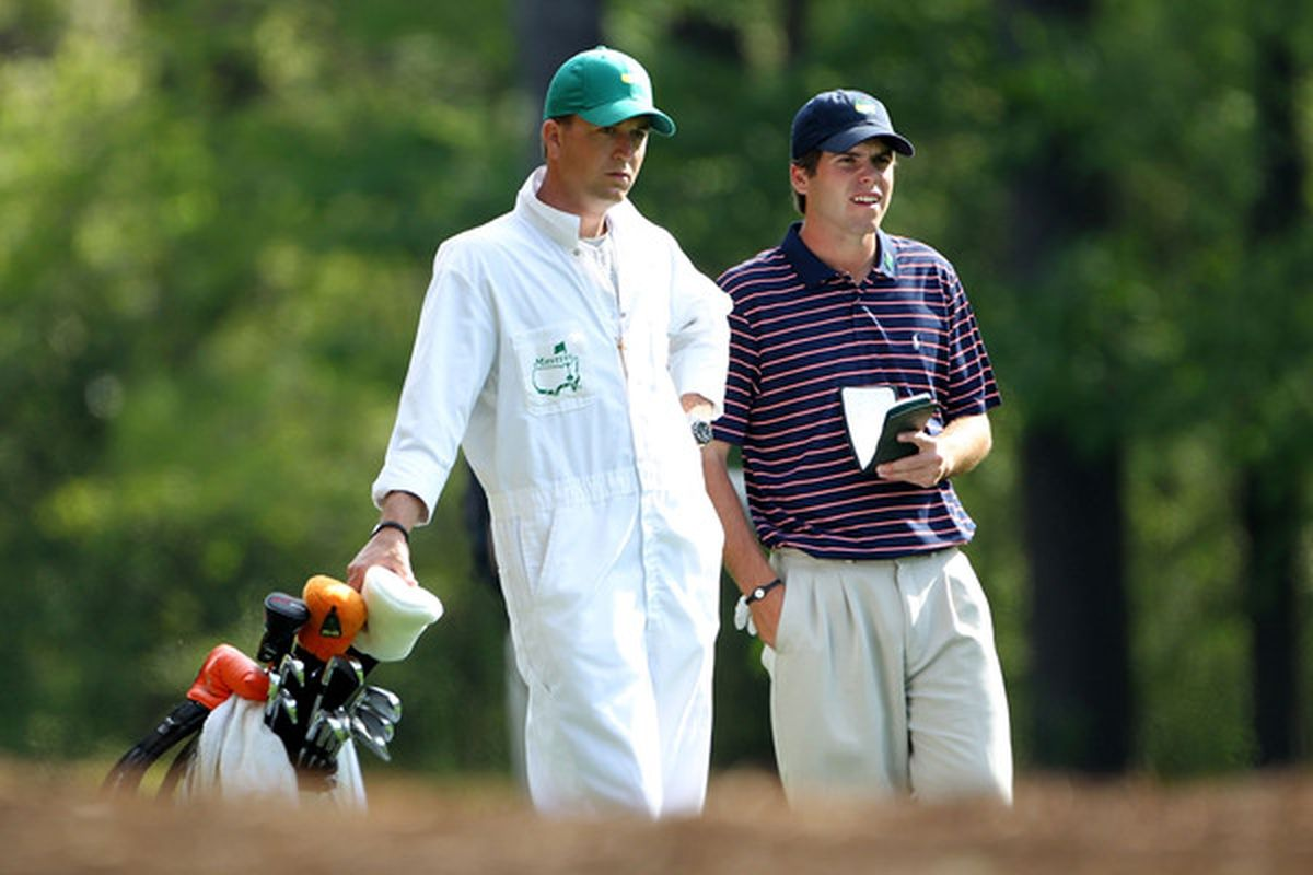 AUGUSTA, GA - APRIL 07:  Amateur Ben Martin waits with his caddie Robert Thompson during a practice round prior to the 2010 Masters Tournament at Augusta National Golf Club on April 7, 2010 in Augusta, Georgia.  (Photo by Jamie Squire/Getty Images)
