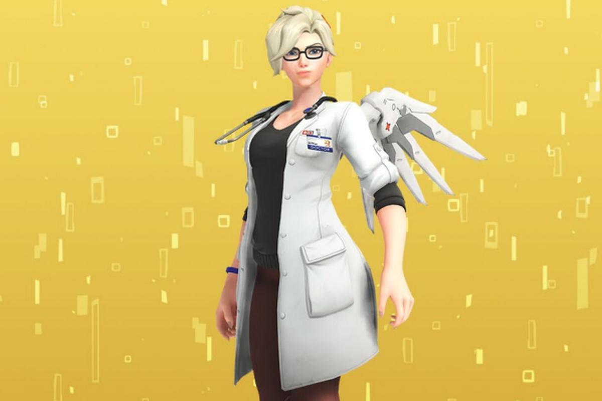 Mercy in her normal doctor uniform