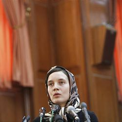 French lecturer Clotilde Reiss, who was reportedly arrested at Tehran airport on July 1, and jailed on charges of spying linked to riots over last month's presidential election, speaks at the court room in Tehran, Iran, Saturday.