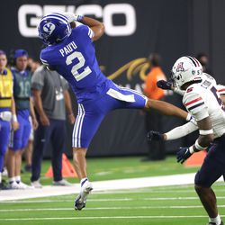 Brigham Young Cougars wide receiver Neil Pau'u (2) grabs a pass during the Vegas Kickoff Classic in Las Vegas on Saturday, Sept. 4, 2021.
