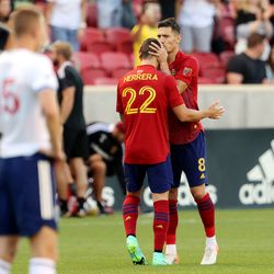Real Salt Lake midfielder Damir Kreilach (8) kisses teammate Real Salt Lake defender Aaron Herrera (22) on the head after scoring a goal as Real Salt Lake and Vancouver FC play at Rio Tinto Stadium in Sandy on Wednesday, July 7, 2021.