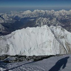 A view of distant mountains from the top of Mount Everest, 29,029 feet elevation.