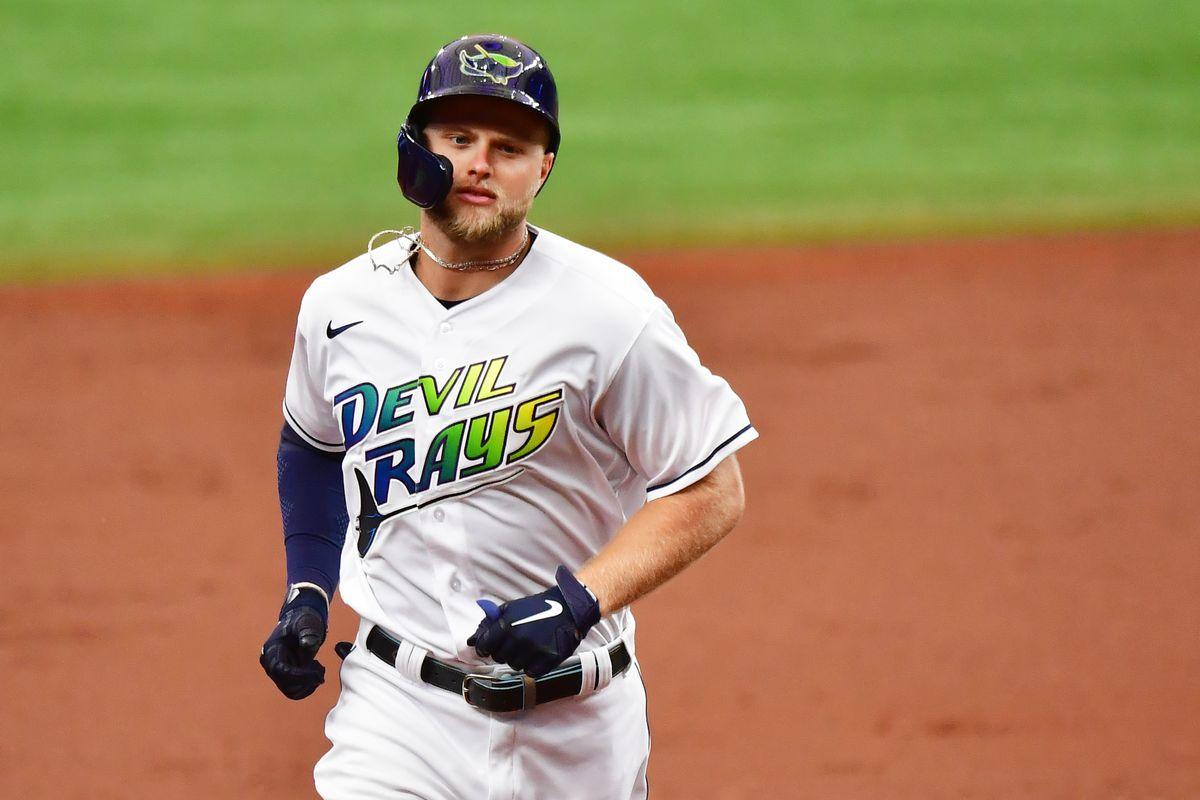 Austin Meadows #17 of the Tampa Bay Rays runs the bases after hitting a 2-run home run off of Zack Wheeler of the Philadelphia Phillies in the first inning at Tropicana Field on May 29, 2021 in St Petersburg, Florida.