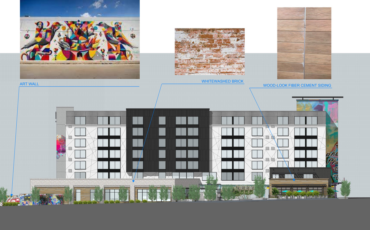 An elevation shows the various design elements planned for the unique-looking hotel.