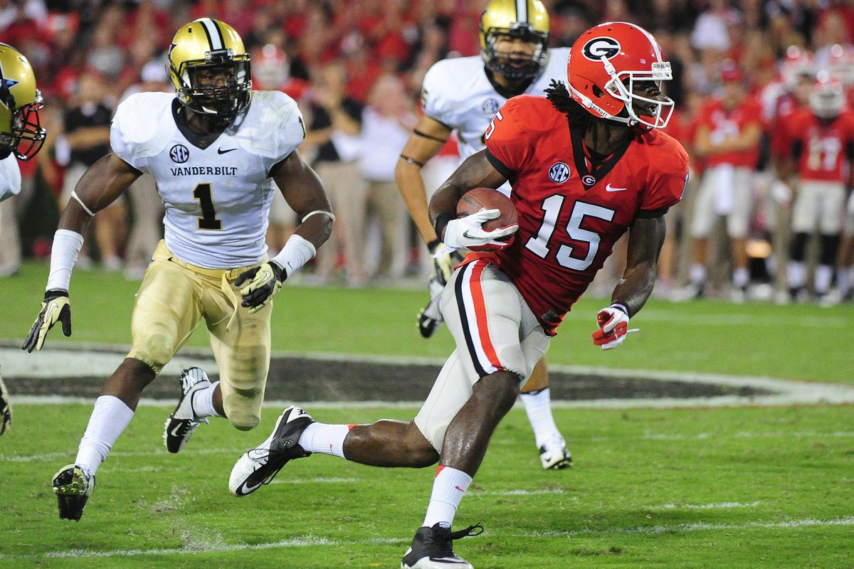 ATHENS, GA - SEPTEMBER 22: Marlon Brown #15 of the Georgia Bulldogs runs with a catch against the Vanderbilt Commodores at Sanford Stadium on September 22, 2012 in Athens, Georgia. (Photo by Scott Cunningham/Getty Images)
