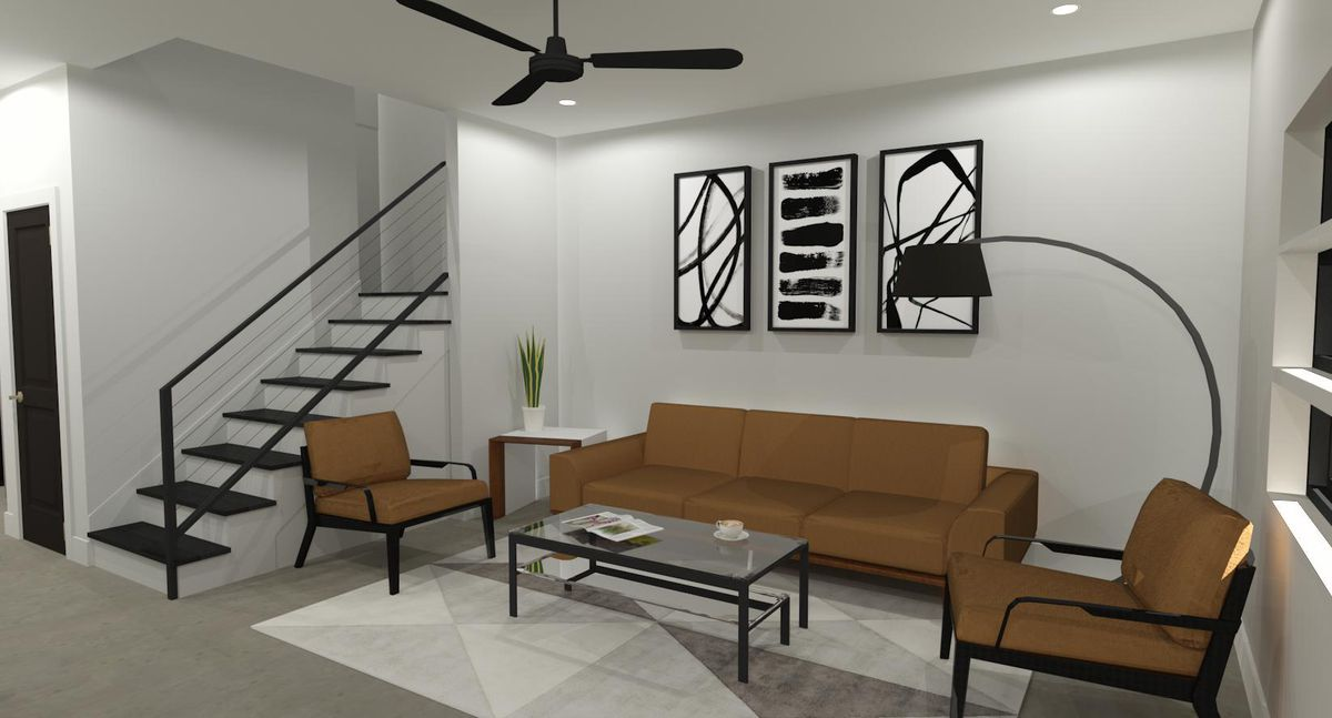 Rendering of a brown couch and love seats on geometrical carpet