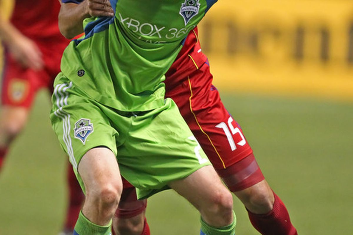 Pat Noonan is still training with the Seattle Sounders, but no decision has been reached on whether or not he'll start the season with the team. (Photo by George Frey/Getty Images)