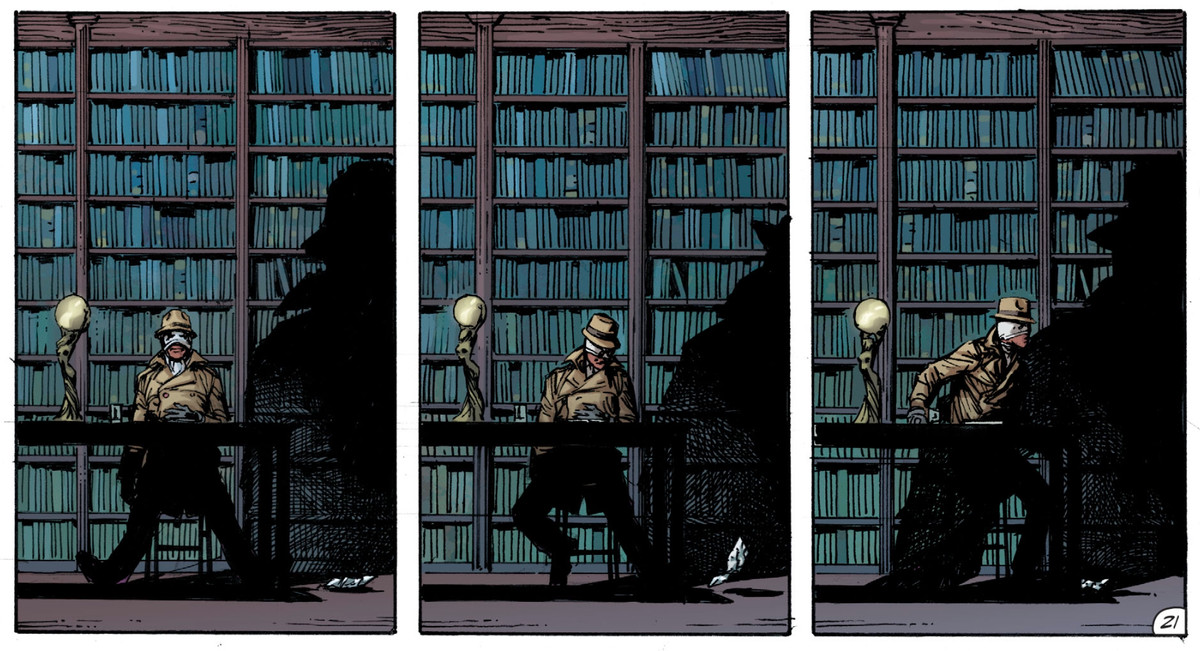 Rorschach, sated from eating Bruce Wayne's pancakes in the library of Wayne Manor, Doomsday Clock #2, DC Comics 2017.
