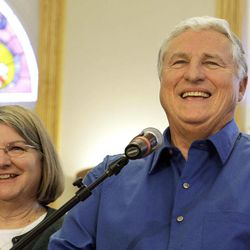 Merle and Patricia Butler of Red Bud, Ill., appear during a news conference at the Red Bud Village Hall on Wednesday, April 18, 2012, in Red Bud, Ill. The retired southern Illinois couple has claimed the third and final share of last month's record $656 million Mega Millions jackpot.