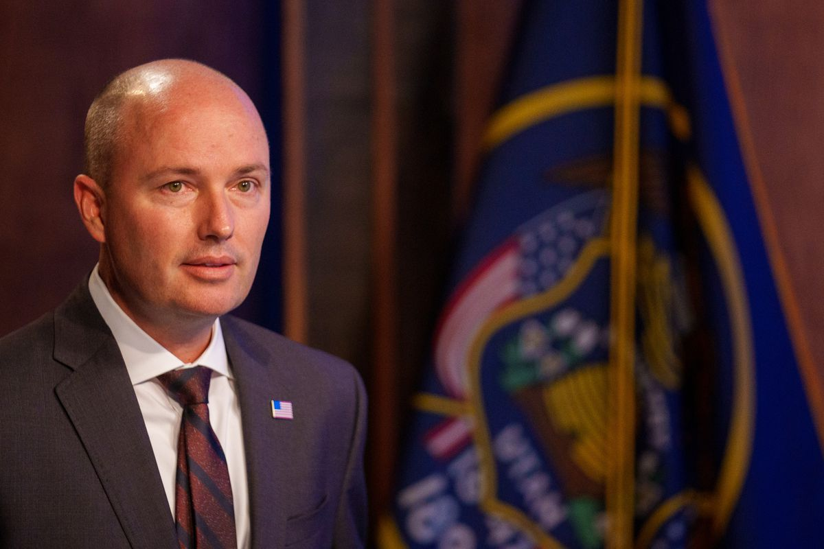 Utah Gov. Spencer Cox addresses mask rules for COVID-19 at his monthly news conference at the PBS Utah studios in Salt Lake City