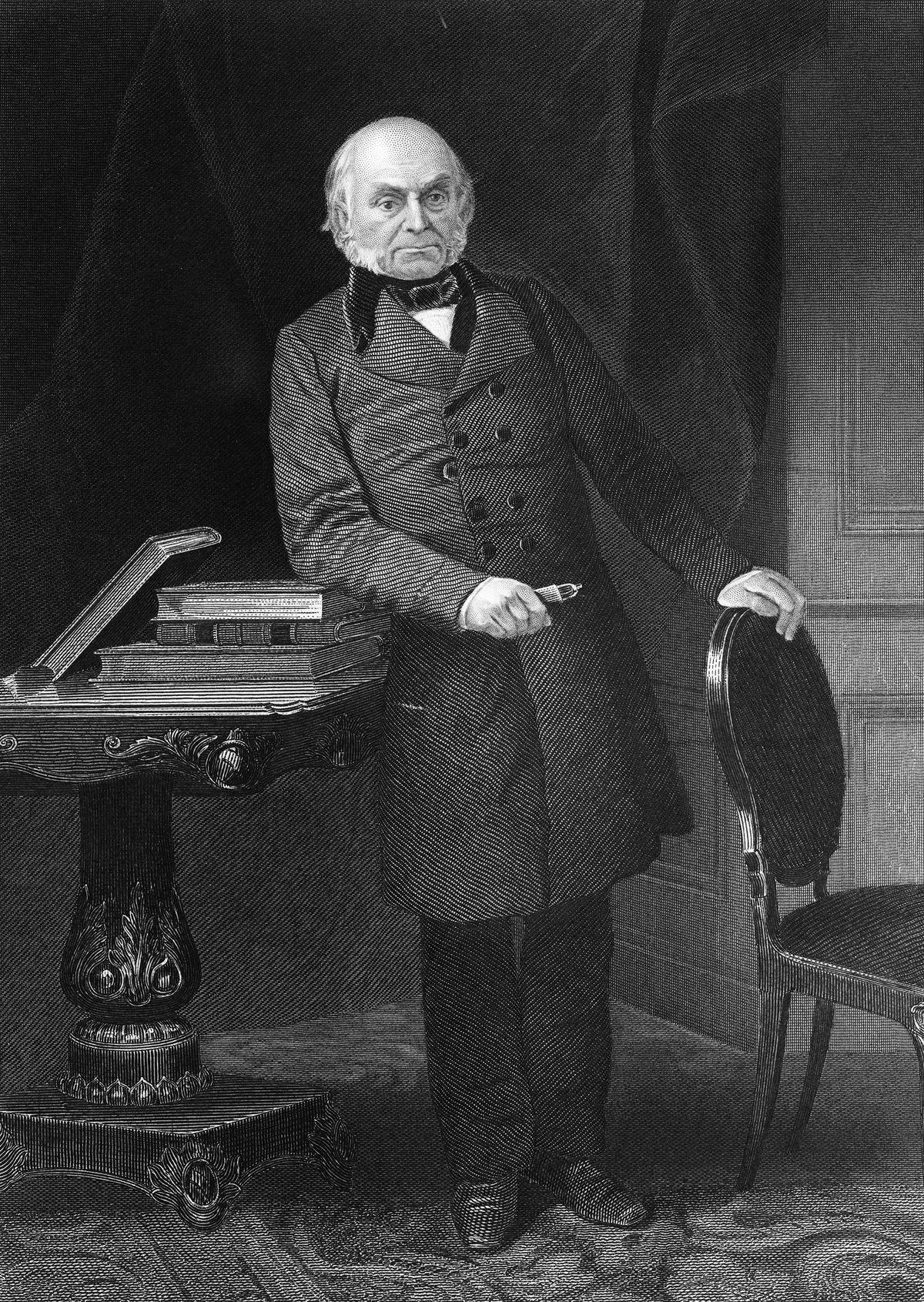 John Quincy Adams, wearing pants in circa 1825 portrait
