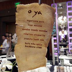 The O Ya menu, laser printed on pig skin.
