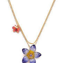 """<a href=""""http://www.betseyjohnson.com/product/index.jsp?productId=12635391"""">Flower pendant necklace</a>, $38 (was $48)"""