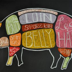 A staff member drew the very cute pig on the wall of Culinary Dropout. Photo by Susan Stapleton
