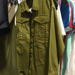 Button-down embellished olive top, $40