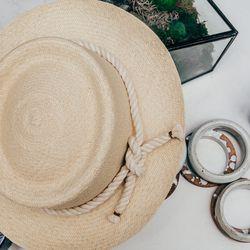 <b>Brookes Boswell</b> Panama hat, $220; <b>Jujumade</b> bangles, $70 to $80