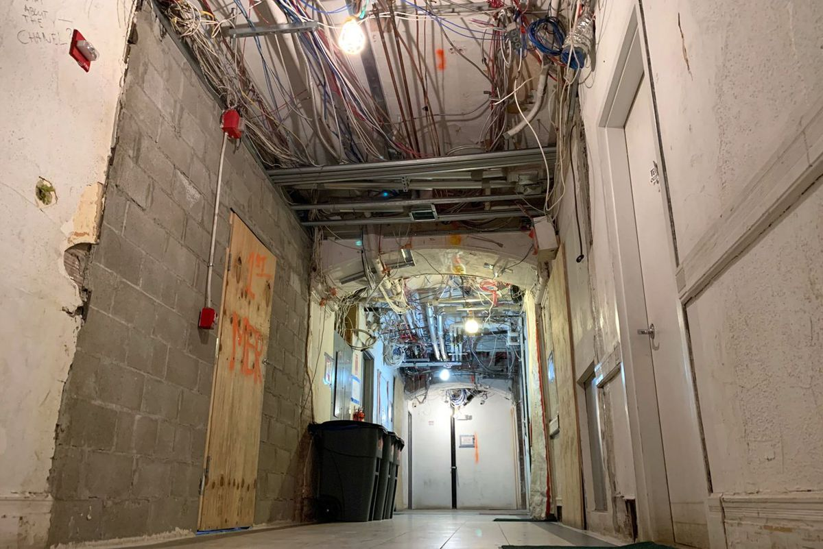 Parts of the interior of the Chelsea Hotel still look like a construction zone.